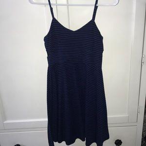 Blue/Black Striped Dress with Sheer Zipper Back